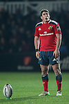 Fly-half Ian Keatley of Munster Rugby eyes up the conversion.<br /> <br /> Guiness Pro 12<br /> Newport Gwent Dragons v Munster Rugby<br /> Rodney Parade<br /> 21.11.14<br /> &copy;Steve Pope-SPORTINGWALES