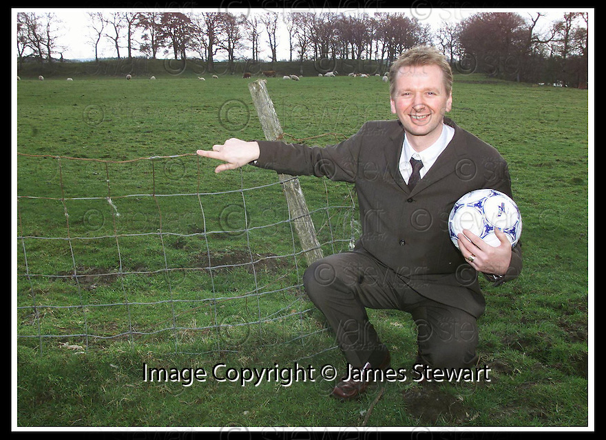 26/07/2002                   Copyright Pic : James Stewart.File Name : stewart-fans world cup 03.HOTEL OWNER ERIC BROWN AT THE FIELD IN CALLENDAR WHICH IS BELIEVED TO BE THE SITE OF THE WORLD'S FIRST FOOTBALL PITCH AND WHICH WILL BE USED AS THE LOCATION FOR THE FORTHCOMING FANS WORLD CUP....(see copy from George Mair / Tim Bugler).Payments to :-.James Stewart Photo Agency, 19 Carronlea Drive, Falkirk. FK2 8DN      Vat Reg No. 607 6932 25.Office     : +44 (0)1324 570906     .Mobile  : +44 (0)7721 416997.Fax         :  +44 (0)1324 570906.E-mail  :  jim@jspa.co.uk.If you require further information then contact Jim Stewart on any of the numbers above.........