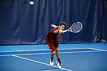 24 MAY 2016:  Oklahoma's Spencer Papa reaches for the ball during singles play. The Division I Men's Tennis Championship is held at the Michael D. Case Tennis Center on the University of Tulsa campus in Tulsa, OK.  Virginia defeated Oklahoma for the national championship. Shane Bevel/NCAA Photos