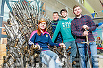 The Iron Throne from Game of Thrones was in Tralee IT for freshers Week on Wednesday pictured from left are: Sarah McAuliffe, Knocknagoshel, Ivan Hurley, Killarney, Tadhg Flynn, Tralee and Steve Clifford, Abbeydorney.