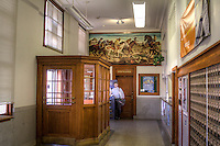 The 1930's Art Deco US Post Office in Sayer Oklahoma on Route 66, features a mural of the land run  &quot;The Opening of the Cheyenne and Arapaho Country&quot; by Vance Kirkland (1940)<br /> <br /> This New Deal era mural is located in the lobby of the Sayre Post Office.