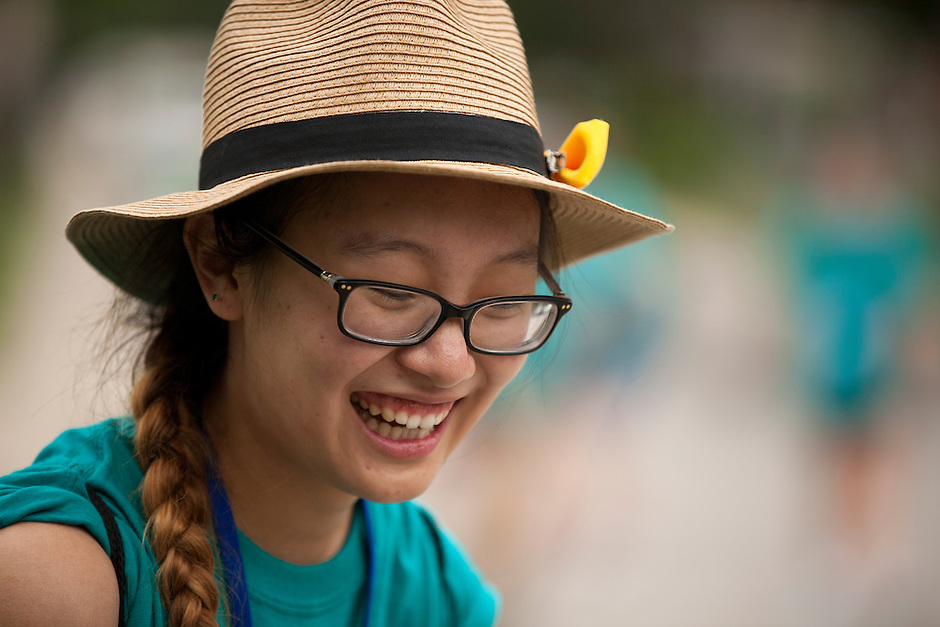 "Amber Huang shares a laugh during ""Circle the City with Service,"" the Kiwanis Circle K International's 2015 Large Scale Service Project, on Wednesday, June 24, 2015, in Indianapolis. (Photo by James Brosher)"
