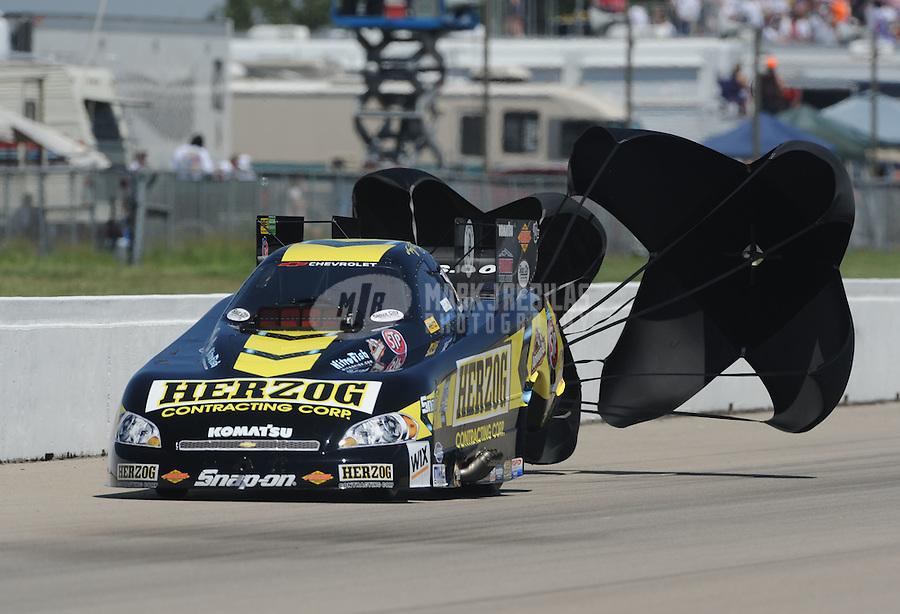 May 22, 2011; Topeka, KS, USA: NHRA funny car driver Tony Pedregon during the Summer Nationals at Heartland Park Topeka. Mandatory Credit: Mark J. Rebilas-