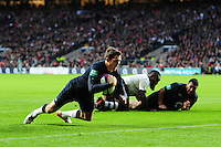 Alex Goode of England dives for the try-line. Old Mutual Wealth Series International match between England and Fiji on November 19, 2016 at Twickenham Stadium in London, England. Photo by: Patrick Khachfe / Onside Images