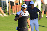 Justin Rose (ENG) sinks his putt on the 18th green during Thursday's Round 1 of the 2018 Turkish Airlines Open hosted by Regnum Carya Golf &amp; Spa Resort, Antalya, Turkey. 1st November 2018.<br /> Picture: Eoin Clarke | Golffile<br /> <br /> <br /> All photos usage must carry mandatory copyright credit (&copy; Golffile | Eoin Clarke)