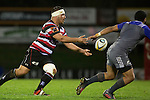 Suliasi Taufalele passes the ball wide. The game of Three Halves, a pre-season warm-up game between the Counties Manukau Steelers, Northland and the All Blacks, played at ECOLight Stadium, Pukekohe, on Friday August 12th 2016. Photo by Richard Spranger.
