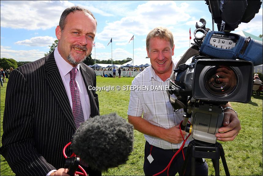 Photo by © Stephen Daniels <br /> ITV News film crew, Burghley Horse Trials, Stamford, Lincs<br /> L/R Matthew Hudson & Chris Warner