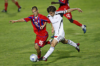 Crystal Palace midfielder Dan Lader (15) and New England Revolution defender Chase Hilgenbrinck (25). The New England Revolution (MLS) defeated Crystal Palace FC USA of Baltimore (USL2) 5-3 in penalty kicks after finishing regulation and overtime tied at 1-1 during a Lamar Hunt US Open Cup quarterfinal match at Veterans Stadium in New Britain, CT, on July 8, 2008.