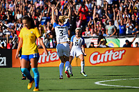 San Diego, CA - Sunday July 30, 2017: Samantha Mewis, Megan Rapinoe celebrate their goal during a 2017 Tournament of Nations match between the women's national teams of the United States (USA) and Brazil (BRA) at Qualcomm Stadium.