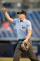 Home plate umpire Sam Burch during a game between the Daytona Tortugas and the Tampa Tarpons on April 18, 2018 at George M. Steinbrenner Field in Tampa, Florida.  Tampa defeated Daytona 12-0.  (Mike Janes/Four Seam Images)