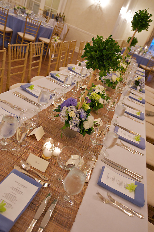 A long rectangular table for the bridal party.