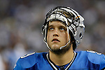 Detroit Lions quarterback Matthew Stafford looks upward from the sidelines in the second quarter of a preseason NFL football game with the New England Patriots, Saturday, Aug. 27, 2011, in Detroit, Mich. (AP Photo/Tony Ding)