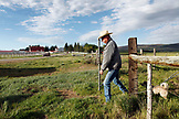 USA, Wyoming, Encampment, a cowboy and his dog exit a pasture through a gate, Big Creek Ranch