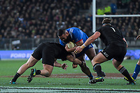 France's Uini Atonio charges at NZ's Owen Franks and Joe Moody during the Steinlager Series international rugby match between the New Zealand All Blacks and France at Forsyth Barr Stadium in Wellington, New Zealand on Saturday, 23 June 2018. Photo: Dave Lintott / lintottphoto.co.nz