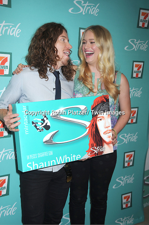 "Shaun White and Leven Rambin celebrate the launch of  Stride's newest  gum flavor ""Mintacular""  on August 21, 2012 at 7-Eleven in New York City."