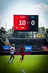 31.08.2019, Auestadion, Kassel, GER, DFB Frauen, EM Qualifikation, Deutschland vs Montenegro , DFB REGULATIONS PROHIBIT ANY USE OF PHOTOGRAPHS AS IMAGE SEQUENCES AND/OR QUASI-VIDEO<br /> <br /> im Bild | picture shows:<br /> Videotafel mit Endstand, <br /> <br /> Foto © nordphoto / Rauch