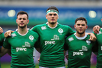 Max Deegan and other Ireland U20 players sing the national anthem. World Rugby U20 Championship match between New Zealand U20 and Ireland U20 on June 11, 2016 at the Manchester City Academy Stadium in Manchester, England. Photo by: Patrick Khachfe / Onside Images