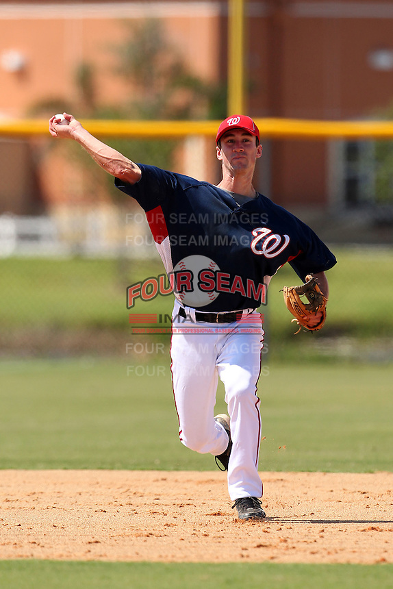 Washington Nationals shortstop Bryce Ortega #6 during an Instructional League game against the national team from Italy at Carl Barger Training Complex on September 28, 2011 in Viera, Florida.  (Mike Janes/Four Seam Images)