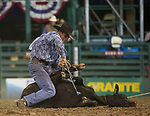 Tyler Forsberg competes in the Tie Down Roping event during the Reno Rodeo on Sunday, June 23, 2019.