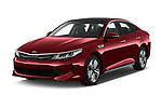 2017 KIA Optima Plug-In Hybrid Fusion 4 Door Sedan angular front stock photos of front three quarter view