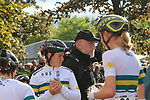 Tiffany Jane Cromwell and the Australian team after crossing the finish line at the end of the Women Elite Road Race of the UCI World Championships 2019 running 149.4km from Bradford to Harrogate, England. 28th September 2019.<br /> Picture: Seamus Yore | Cyclefile<br /> <br /> All photos usage must carry mandatory copyright credit (© Cyclefile | Seamus Yore)