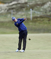 Friday 29th May 2015; Bernd Wiesberger, Austria, plays his approach into the 8th green<br /> <br /> Dubai Duty Free Irish Open Golf Championship 2015, Round 2 County Down Golf Club, Co. Down. Picture credit: John Dickson / SPORTSFILE
