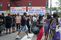 Halal food at a stand during the Harlem Week street fair on West 135th Street in Harlem in New York on Sunday, August 19, 2012. (© Richard B. Levine)