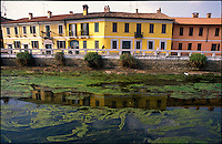 Gaggiano, paese a ovest di Milano. Alghe nell'acqua stagnante del  Naviglio Grande messo in secca --- Gaggiano, small village west of Milan.  Algae in the shallow water of the canal Naviglio grande