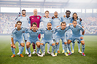 Sporting Kansas City lines up before the game at Livestrong Sporting Park in Kansas City, Kansas.  D.C. United lost to Sporting Kansas City, 1-0.