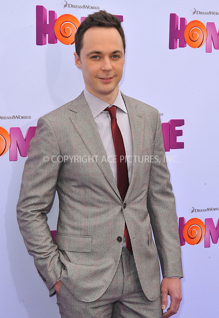 WWW.ACEPIXS.COM<br /> <br /> March 22 2015, LA<br /> <br /> Jim Parsons arriving at the 'HOME' Los Angeles Premiere at the Regency Village Theatre on March 22, 2015 in Westwood, California. <br /> <br /> By Line: Peter West/ACE Pictures<br /> <br /> <br /> ACE Pictures, Inc.<br /> tel: 646 769 0430<br /> Email: info@acepixs.com<br /> www.acepixs.com