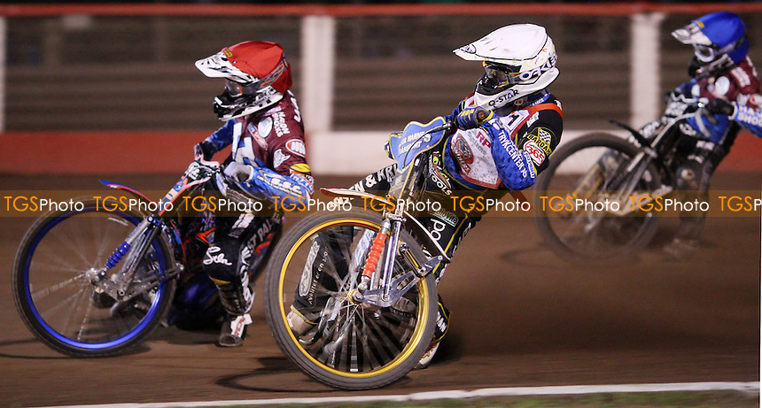 Heat 15: Niels-Kristian Iversen (white), Davey Watt (red) and Lee Richardson (blue) - Lakeside Hammers vs Peterborough Panthers, Elite League Speedway at the Arena Essex Raceway, Pufleet - 11/05/12 - MANDATORY CREDIT: Rob Newell/TGSPHOTO - Self billing applies where appropriate - 0845 094 6026 - contact@tgsphoto.co.uk - NO UNPAID USE..