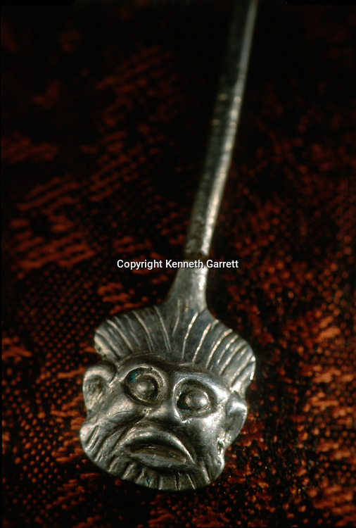 Silver bearded face pin; Oxus Civilization; Turkmenistan; Gonor Depe site; Victor Sarianidi; Archaeology; BMAC complex