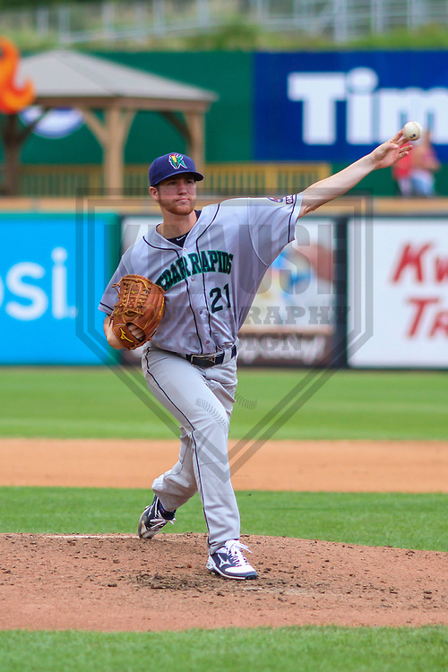 Cedar Rapids Kernels pitcher Charlie Barnes (21)  during a Midwest League game against the Wisconsin Timber Rattlers on August 6, 2017 at Fox Cities Stadium in Appleton, Wisconsin.  Cedar Rapids defeated Wisconsin 4-0. (Brad Krause/Krause Sports Photography)