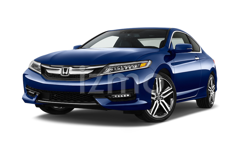 Stock pictures of low aggressive front three quarter view of 2016 Honda Accord Touring 2 Door Coupe Low Aggressive