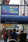"""Theatre Marquee for  """"Freestyle Love Supreme"""" at the Booth Theatre on August 22, 2019 in New York City."""