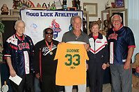 LOS ANGELES - JUN 1:  Ernie Miller, Vivian Stancil, Pat Boone, Kathy Bergen, Bob Messersmith at the National Senior Games Press Conference at the Pat Boone Enterprises on June 1, 2017 in West Hollywood, CA