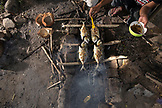 INDONESIA, Flores, Riung, cooking fish called Bang Kolong over burning coconut husks at the Cafe de Mar