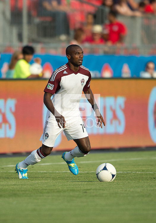18 July 2012: Colorado Rapids forward Omar Cummings #14 in action during an MLS game between the Colorado Rapids and Toronto FC at BMO Field in Toronto, Ontario..Toronto FC won 2-1..