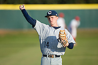 Catawba Indians third baseman Jackson Raper (14) warms up in the outfield prior to the game against the Belmont Abbey Crusaders at Abbey Yard on February 7, 2017 in Belmont, North Carolina.  The Crusaders defeated the Indians 12-9.  (Brian Westerholt/Four Seam Images)