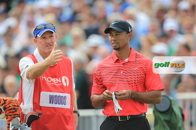 Tiger Woods (USA) and caddy Joe lacava on the 5th tee during round 4 of THE 141st OPEN CHAMPIONSHIP, Royal Lytham & St Annes GC,Lytham St Annes,Lancashire,England. 22/07/2012.Picture Fran Caffrey www.golffile.ie