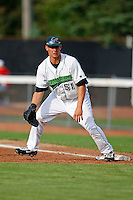 July 30, 2009:  First Baseman Kyle Jensen of the Jamestown Jammers  during a game at Russell Diethrick Park in Jamestown, NY.  The Jammers are the NY-Penn League Short-Season Single-A affiliate of the Florida Marlins.  Photo By Mike Janes/Four Seam Images