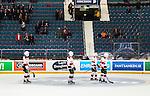 Stockholm 2014-10-14 Ishockey Hockeyallsvenskan AIK - Malm&ouml; Redhawks :  <br /> Malm&ouml; Redhawks Nils Andersson , Johan Ivarsson , Jens Olsson och Frederik Storm deppar nedanf&ouml;r Malm&ouml; Redhawks supportrar i Hovet efter matchen och f&ouml;rlusten mot AIK:s <br /> (Foto: Kenta J&ouml;nsson) Nyckelord:  AIK Gnaget Hockeyallsvenskan Allsvenskan Hovet Johanneshov Isstadion Malm&ouml; Redhawks depp besviken besvikelse sorg ledsen deppig nedst&auml;md uppgiven sad disappointment disappointed dejected supporter fans publik supporters