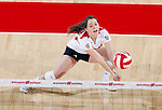 Wisconsin Badgers Lindsey Seil (17) hits the ball during an NCAA volleyball match against the Michigan Wolverines at the Field House on October 30, 2010 in Madison, Wisconsin. Michigan won the match 3-1. (Photo by David Stluka)