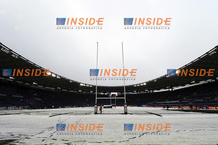 """Il campo innevato. .Roma 11/20/2012 Stadio """"Olimpico"""".Rugby 6 Nations Tournament - Torneo delle 6 Nazioni 2012.Italia Vs Inghilterra - Italy Vs England .Foto Insidefoto Andrea Staccioli"""