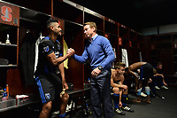 Stanford, CA - Saturday July 01, 2017: Anibal Godoy, Chris Leitch during a Major League Soccer (MLS) match between the San Jose Earthquakes and the Los Angeles Galaxy at Stanford Stadium.