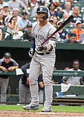 New York Yankees pinch hitter Gleyber Torres (25) walks in the ninth inning against the Baltimore Orioles at Oriole Park at Camden Yards in Baltimore, MD on Thursday, May 23, 2019.  The Yankees won the game 6 - 5.<br /> Credit: Ron Sachs / CNP<br /> (RESTRICTION: NO New York or New Jersey Newspapers or newspapers within a 75 mile radius of New York City)