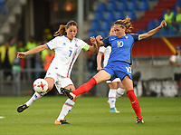 20170718 - TILBURG , NETHERLANDS : French Camille Abily (R) and Iceland's Sara Bjork Gunnarsdottir (L) pictured during the female soccer game between France and Iceland  , the frist game in group C at the Women's Euro 2017 , European Championship in The Netherlands 2017 , Tuesday 18 th June 2017 at Stadion Koning Willem II  in Tilburg , The Netherlands PHOTO SPORTPIX.BE | DIRK VUYLSTEKE