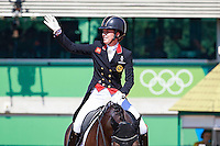 GBR-Charlotte Dujardin rides Valegro to their second consecutive Individual Gold Medal winning performance in the Individual Medal Competition Grand Prix Kur for the Equestrian Dressage. Rio 2016 Olympic Games, Centro Olímpico de Hipismo, Rio de Janeiro, Brazil. Monday 15 August. Copyright photo: Libby Law Photography
