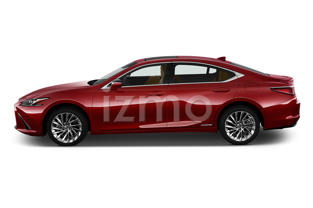Car Driver side profile view of a 2019 Lexus ES 300h-Privilege-Line 4 Door Sedan Side View