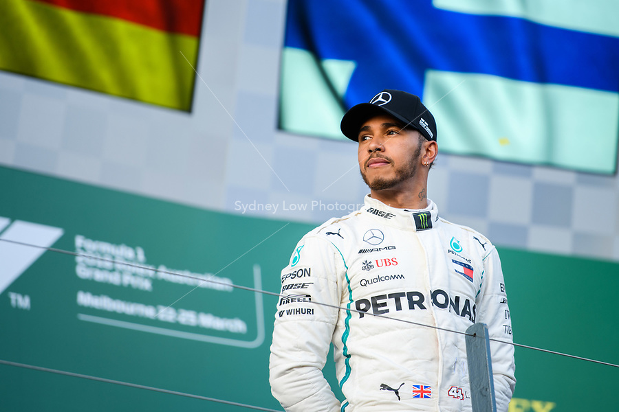 March 25, 2018: Lewis Hamilton (GBR) #44 from the Mercedes AMG Petronas Motorsport team waits for an interview. He came second in the 2018 Australian Formula One Grand Prix at Albert Park, Melbourne, Australia. Photo Sydney Low